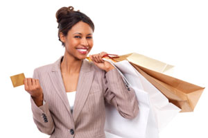 Lady shopping with a Visa gift card